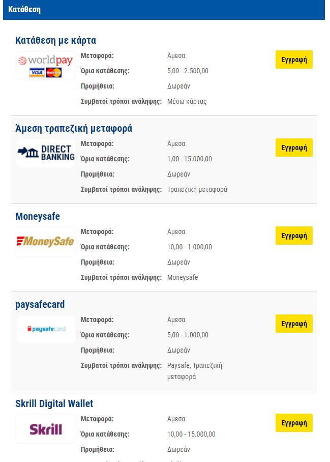 Μέθοδοι κατάθεσης betshop.gr