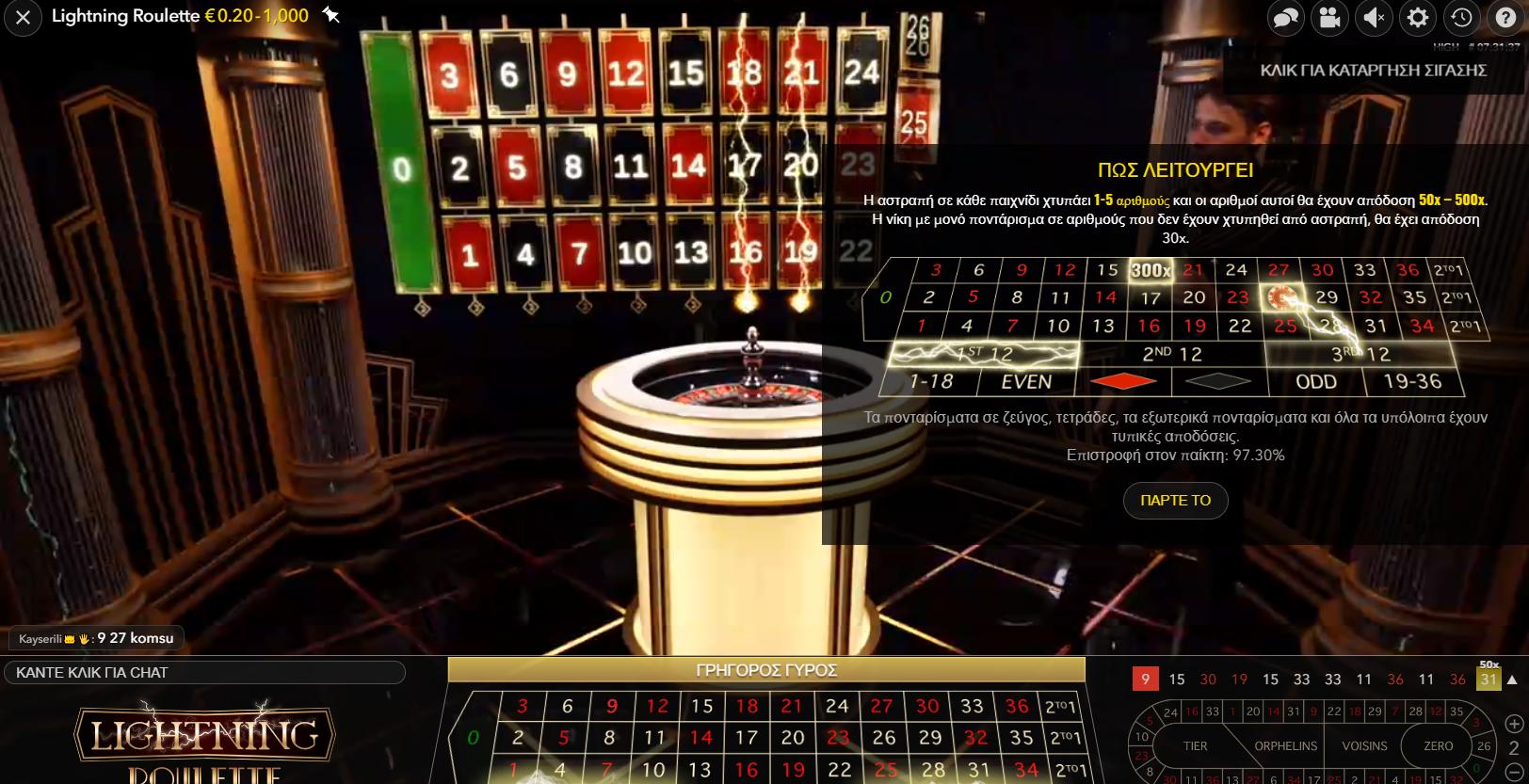 Δράση στο τραπέζι της Lightning Roulette